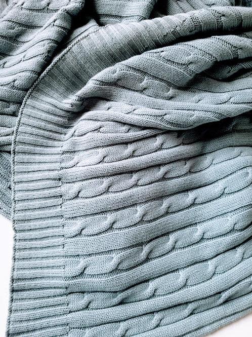 Ralph Lauren Cable Knit Blanket Blue Cotton