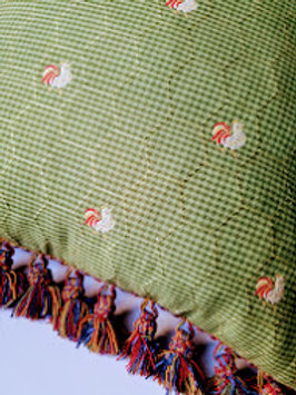 Rooster Gingham Pillow Green Gingham Fringe Custom Down Insert