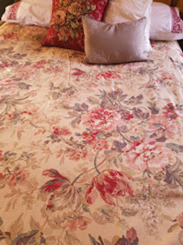 Custom Queen Floral Duvet Piping