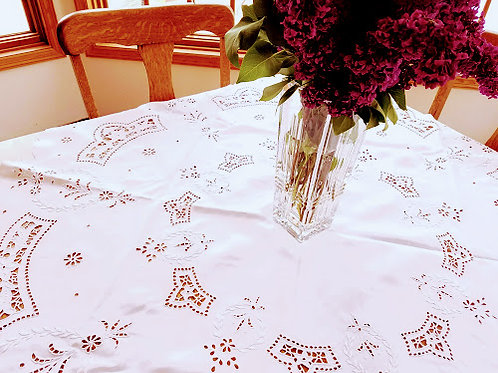 Vintage Tablecloth Madeira Linen Round Broderie Anglaise Whitework
