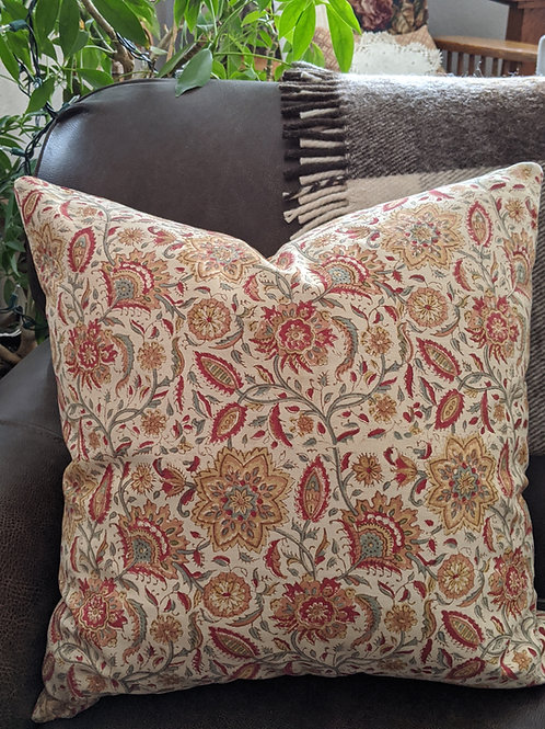 "Pottery Barn Batik Pillow Floral Red Sage 18"" Down Insert"