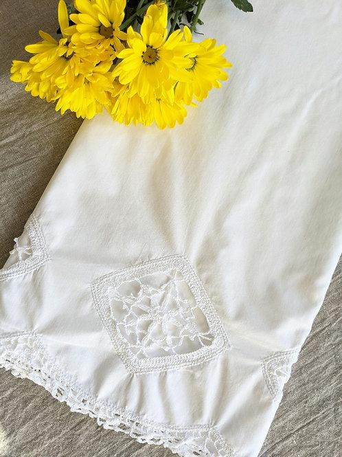 Vintage Standard White Pillowcase Crochet Cutwork