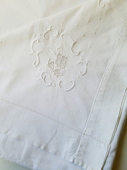 Antique Full Sheet Heavy White on White Floral Embroidery