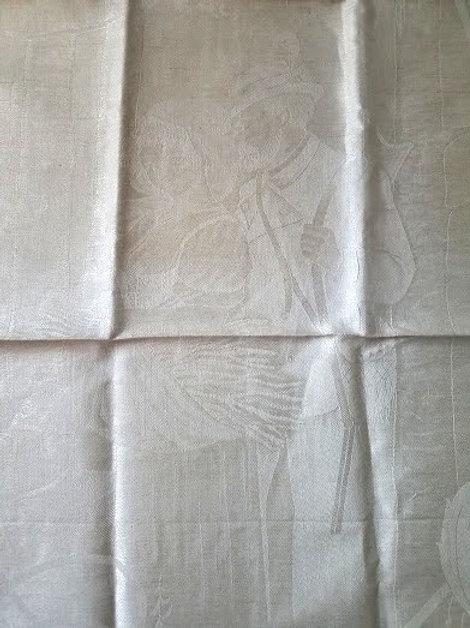 German Figural Linen Damask Tea Towel~ Happy Farmer Couple