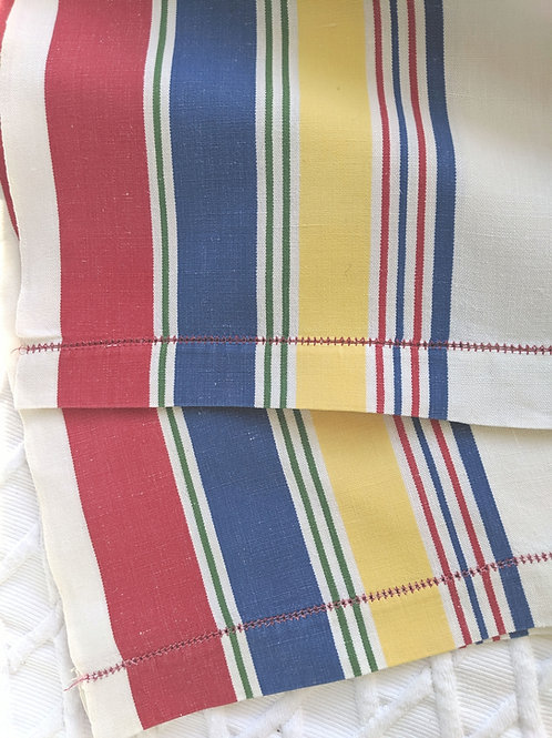 Vintage Linen Striped Kitchen Towel Pair Blue Red Yellow