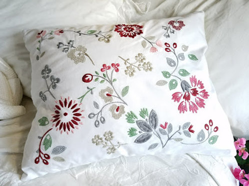 IKEA Hedblomster Embroidered Pillow Chickadee Vintage