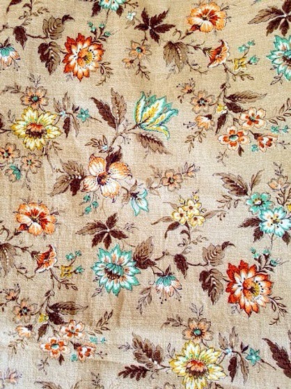"Bark cloth Fabric Floral Design 44"" x 70"" Cotton"