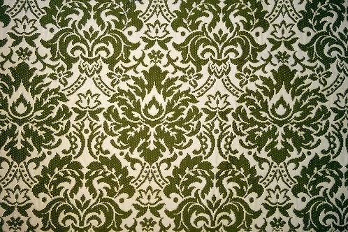 Vintage Fabric Remnant~White Green~Jacquard 36x54