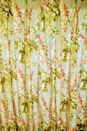 Custom Lined Drapery Gray Pink Green Floral Print