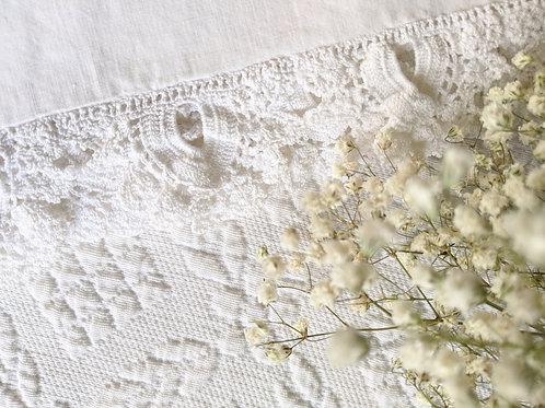 Vintage White Cotton Sheet Full Size Crochet Trim