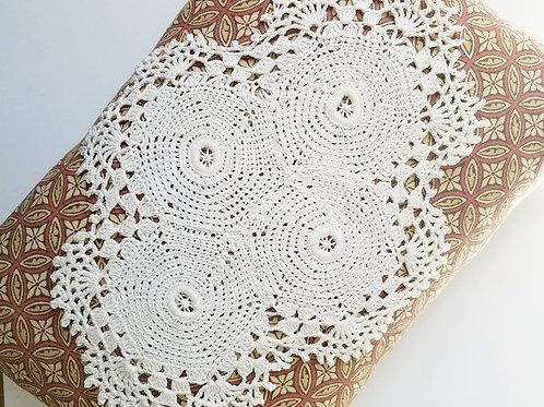 Pillow Crocheted Ivory Doily Handmade Chic Print