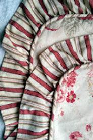 Waverly Norfolk Rose Ruffled~Standard Sham Pair~ Floral/Striped