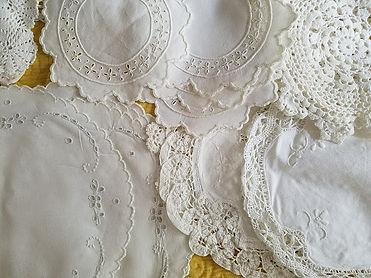 vintage linen white doilies