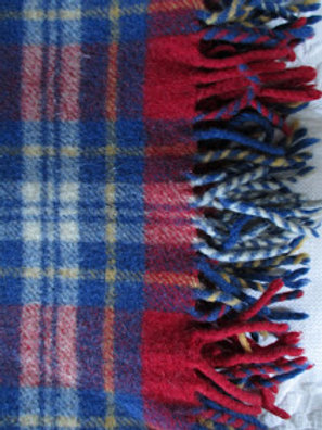 Wool Plaid Lap Blanket Throw Fringed~Red Blue