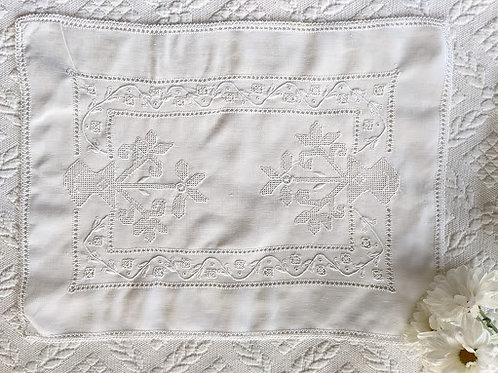 Antique White Embroidered Tray Cloth Floral