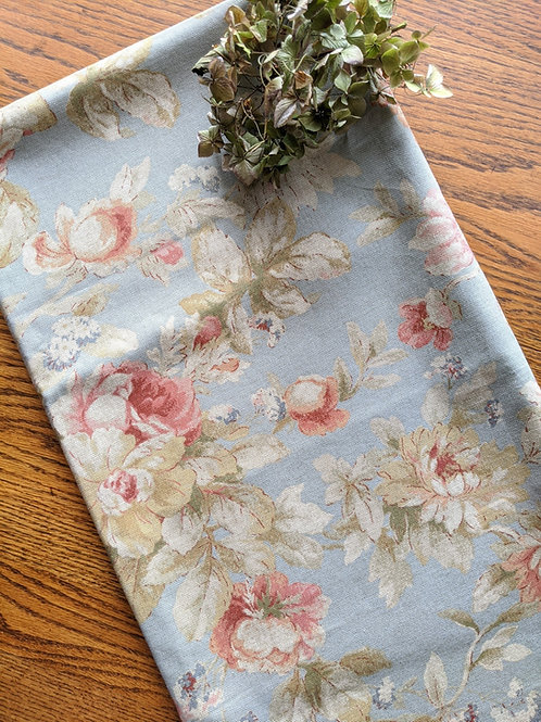 """Floral Square Tablecloth 54"""" Green Blue Pink Tan"""