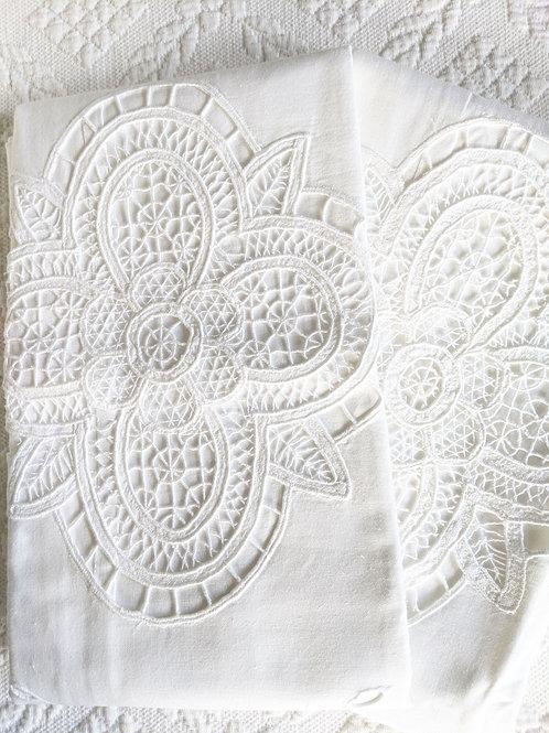 """Battenburg Reticilla Euro Sham Pair 27"""" Square White Cotton"""