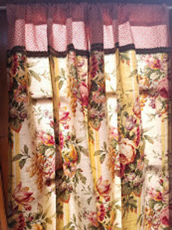 Rose Floral Custom Curtain Panels Pink Yellow Green