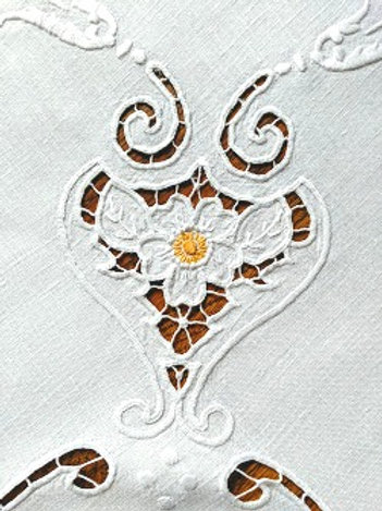 Vintage Square Embroidered Tablecloth White Yellow 42