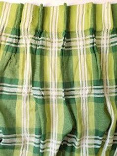 Mid Centuray Green Plaid Pleated Drapes JCP