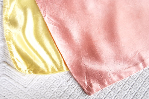 Satin pillow cases- Handmade Vintage Pink Yellow