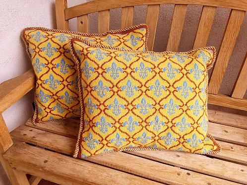 Fleur-de-lis Needlepoint Pillow Pair