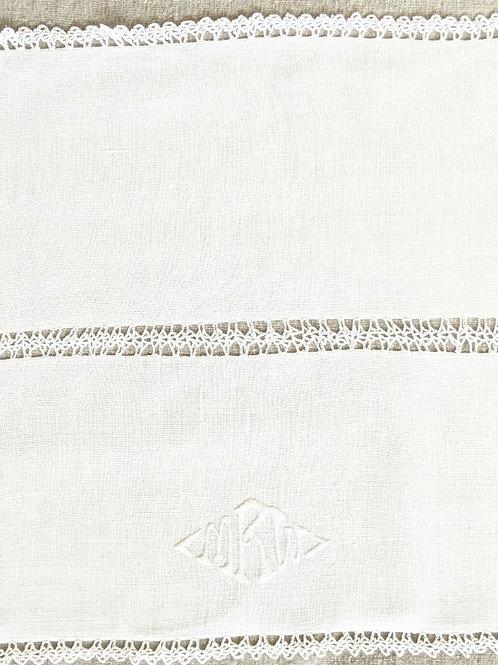 """Vintage White Linen Runner """"MRW"""" Monogram Crochet"""