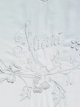 "Italian ""Felicità"" Embroidered Sheet Queen/Full Monogram B C"