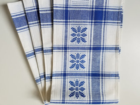 Plaid Cotton Kitchen Towels Set of Four Blue White Made in Hungary