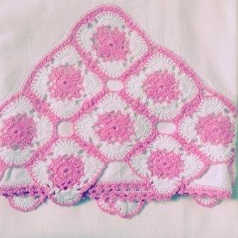 Crocheted Pink Standard Vintage Pillowcase