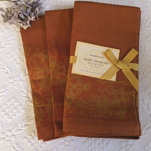 Williams Sonoma Grape Jacquard Napkins Set of Six Rust Gold