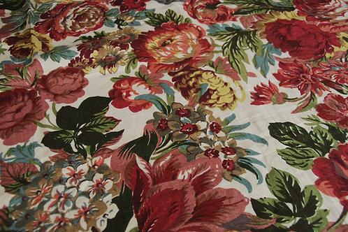 """Floral Linen Cloth Beautiful Rich Colors 48"""" x 37"""""""
