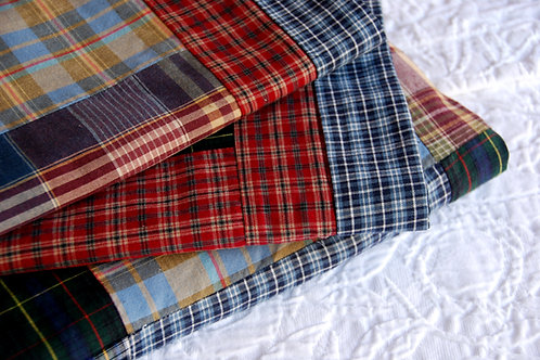 Plaid Patchwork Cotton King Duvet Two Shams