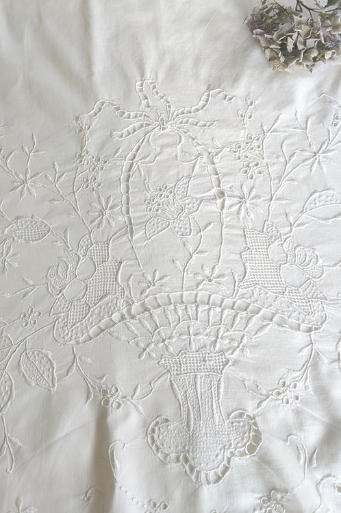 Embroidered Vintage Sheet Full Size Flower Basket White on White