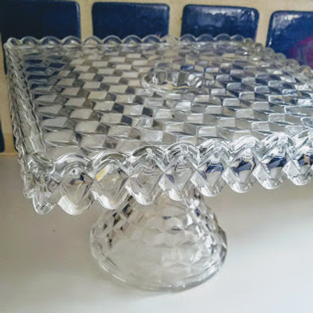 Fostoria Glass American Crystal - Square Cake Stand on Pedestal with Rum Well