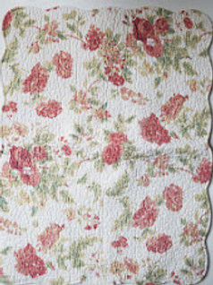 Cream Rose Green Floral~ Quilted Standard Sham