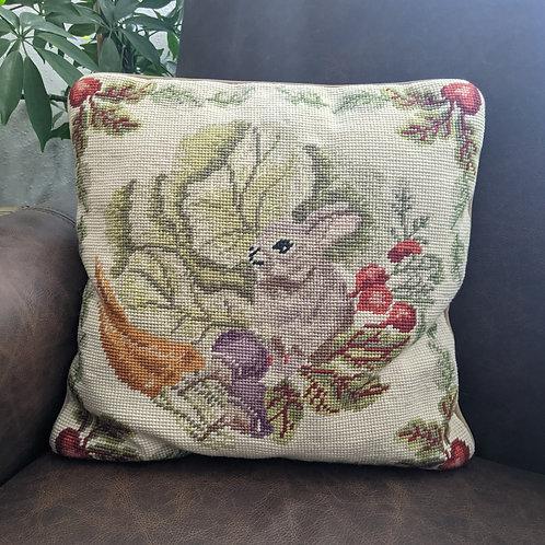 Needlepoint Pillow Hand Stitched Rabbit Veggies