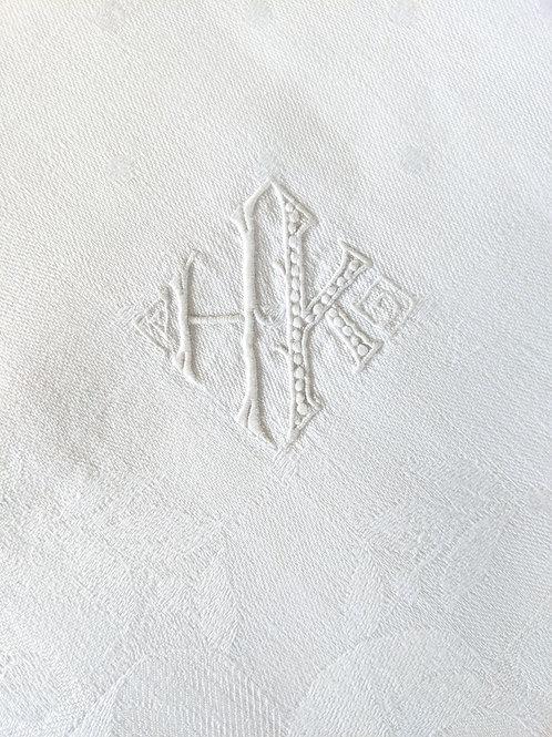 "Tablecloth Damask White Monogram HK 112"" x 72"""