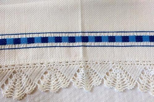 """Tea Towel~Blue Weave Trim~Cotton~Crochet~28"""" x 17"""""""