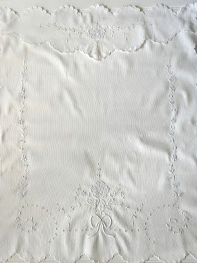 Vintage Baby Pram Cover Floral Embroidery White on White