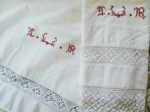 Antique Linen Full Sheet/Case~Crocheted Trim Red Stitched Monogram