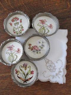 Vintage Porcelain Floral Coasters Set of 5