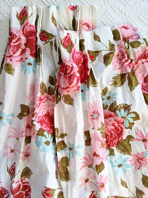 Vintage Floral Pleated Cotton Drapes Shabby Romantic Pink Green Blue