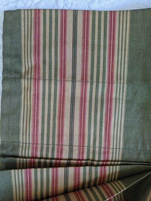 Waverly Sweetwater Stripe Green Red Tan Unlined Tucked Tailored Valance