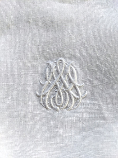 French Antique Linen Sheet Twin Size White Monogram
