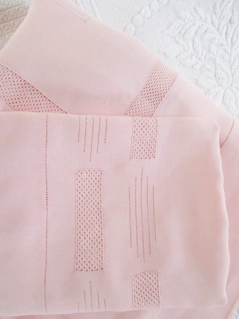 Vintage French Linen Sheet Set~Pink~Ladder work