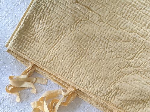 Pottery Barn Euro Pillow Shams Pickstitch Yellow Linen Blend Ties/Pick