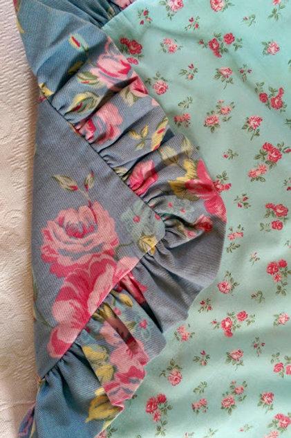 Custom Shabby Sham~Blue/Floral/Ruffle