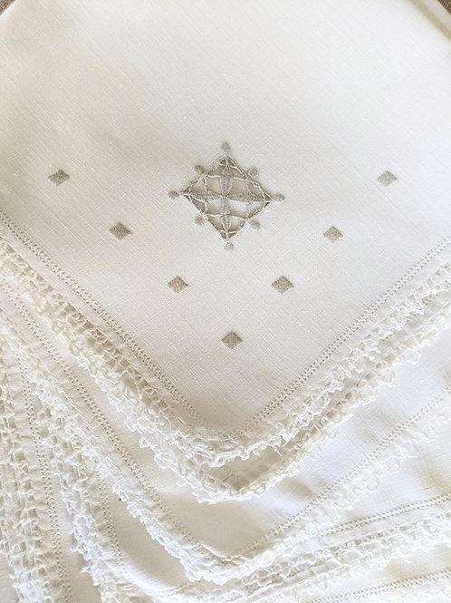 "Vintage Napkin Set of Seven Linen Tan Floral Embroidery 15"""