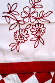 Linen/Cotton ~Red Cream Pillow Cover Pair